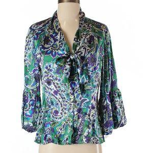 Sunny Leigh 100% Silk Size S3/4 Sleeve Top